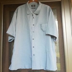 Haggar Performance blue plaid short sleeve shirt